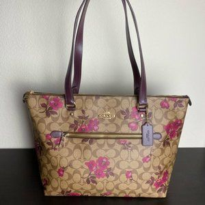 GALLERY TOTE IN SIGNATURE CANVAS WITH VICTORIAN FL
